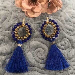 Handmade Gold Plated Blue and Gold Long  Earring